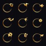 Значок стиля золотого кольца круга наградной тайский - вектор Стоковые Фотографии RF