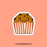 Значок стороны смайлика милого пирожного kawaii смешной Стоковые Фотографии RF