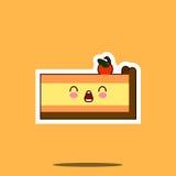 Значок стороны смайлика шаржа характера kawaii куска пирога Стоковые Фотографии RF