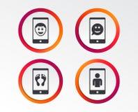 Значок стороны улыбки Selfie Звонок Smartphone видео- бесплатная иллюстрация