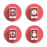 Значок стороны улыбки Selfie Звонок Smartphone видео- Стоковые Изображения