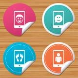 Значок стороны улыбки Selfie Звонок Smartphone видео- Стоковые Изображения RF