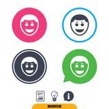 Значок стороны улыбки Smiley с символом стиля причёсок Стоковая Фотография RF