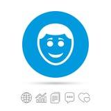 Значок стороны улыбки Smiley с символом стиля причёсок Стоковые Фото
