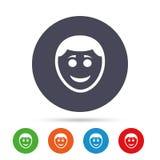 Значок стороны улыбки Smiley с символом стиля причёсок Стоковое Фото