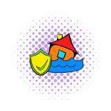 Значок страхования от наводнений, стиль комиксов Стоковая Фотография