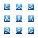Значок страхования установил на голубые квадратные кнопки Стоковые Изображения