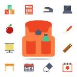 значок сумки школы покрашенный Детальный набор покрашенных значков образования Наградной графический дизайн Один из значков собра иллюстрация вектора