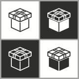 Значок сюрприза подарочной коробки вектора Стоковые Фотографии RF