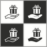 Значок сюрприза подарочной коробки вектора Стоковое Изображение