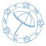 Значок с зонтиком. линии контура Стоковые Фото