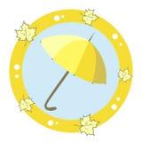 Значок с зонтиком и кленовыми листами Стоковое фото RF