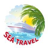 Значок с кораблем и морем Стоковое Изображение