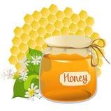 Значок с медом на предпосылке сота Стоковое фото RF