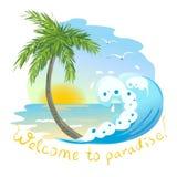 Значок с морем и пальмой Стоковое Фото