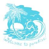 Значок с морем и пальмой. monochrome illust Стоковые Фото