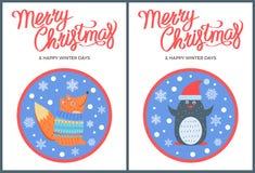 Значок с Рождеством Христовым и зимы вектора Fox пингвина Стоковое фото RF