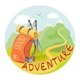 Значок с рюкзаком и ландшафтом горы Стоковые Фото