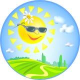 Значок с солнцем и сельским ландшафтом Стоковое Фото