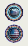 Значок с флагом США, комплектом Стоковое фото RF