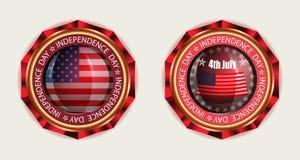 Значок с флагом США, комплектом Стоковое Изображение
