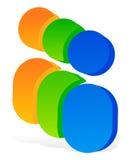 Значок с 3 человеческими пиктограммами - красочный значок 3d для партнерства Стоковые Изображения RF