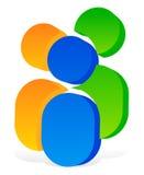 Значок с 3 человеческими пиктограммами - красочный значок 3d для партнерства иллюстрация вектора