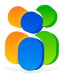 Значок с 3 человеческими пиктограммами - красочный значок 3d для партнерства Стоковые Фотографии RF