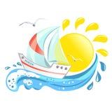 Значок с яхтой, волной и солнцем Стоковое Изображение