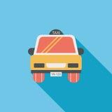 Значок такси плоский с длинной тенью Стоковое Фото