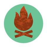 Значок текстурированный лагерным костером плоский Стоковые Фото