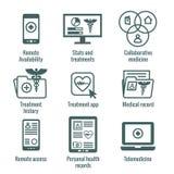 Значок телемедицины и медицинских отчетов установил с кадуцеем, fol файла иллюстрация штока