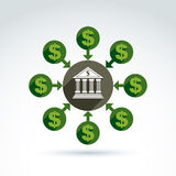Значок темы банковского кредита кредита в банке и денег депозита, вектор Стоковые Фотографии RF
