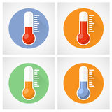 Значок термометра с масштабом Стоковые Изображения