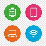 Значок тетради и smartphone Умный символ вахты бесплатная иллюстрация