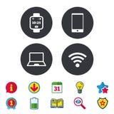 Значок тетради и smartphone Умный символ вахты иллюстрация вектора