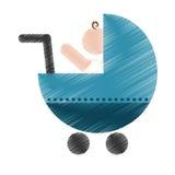 Значок тележки младенца иллюстрация штока