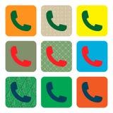 Значок телефона вектора современный установленный в кнопку Стоковая Фотография RF