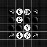 Значок торговлей фондовых бирж установленный в игре othello Стоковое фото RF