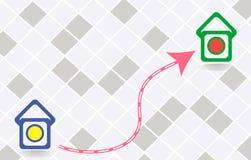 Значок трассы между 2 пунктами Стоковое фото RF