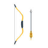 Значок лука и стрелы в стиле шаржа Стоковая Фотография