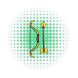Значок лука и стрелы, стиль комиксов Стоковая Фотография RF