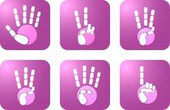 Значок установил белых рук представляет силуэт на фиолетовой предпос бесплатная иллюстрация