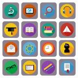 Значок установленный для онлайн образования, обучения по Интернетуу Стоковое Изображение
