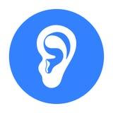Значок уха в черном стиле изолированный на белой предпосылке Часть иллюстрации вектора запаса символа тела Стоковые Фото