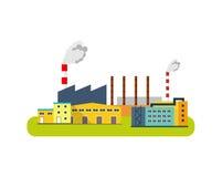 Значок фабрики, концепция индустрии Иллюстрация вектора плоская Стоковые Фото