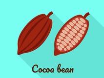 Значок фасоли какао, плоский стиль бесплатная иллюстрация