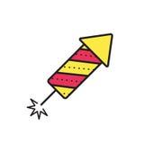 Значок фейерверка на белой предпосылке также вектор иллюстрации притяжки corel Стоковое Фото