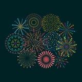 Значок фейерверка установленный с petard, звездами Фестиваль и событие Стоковое Фото