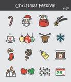 Значок фестиваля рождества установил 6 Плоский дизайн цвета Стоковые Изображения RF